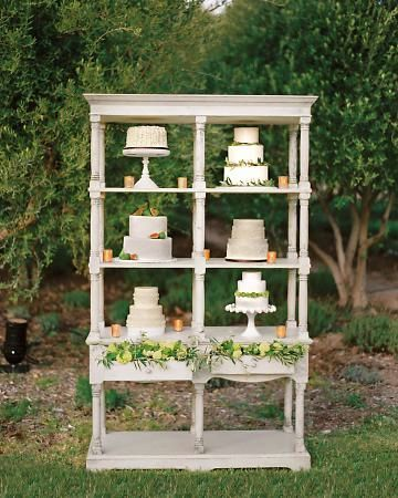 "This is interesting for sure. Can't decide if I like it or not. Cake ""table"" for vintage or rustic wedding"