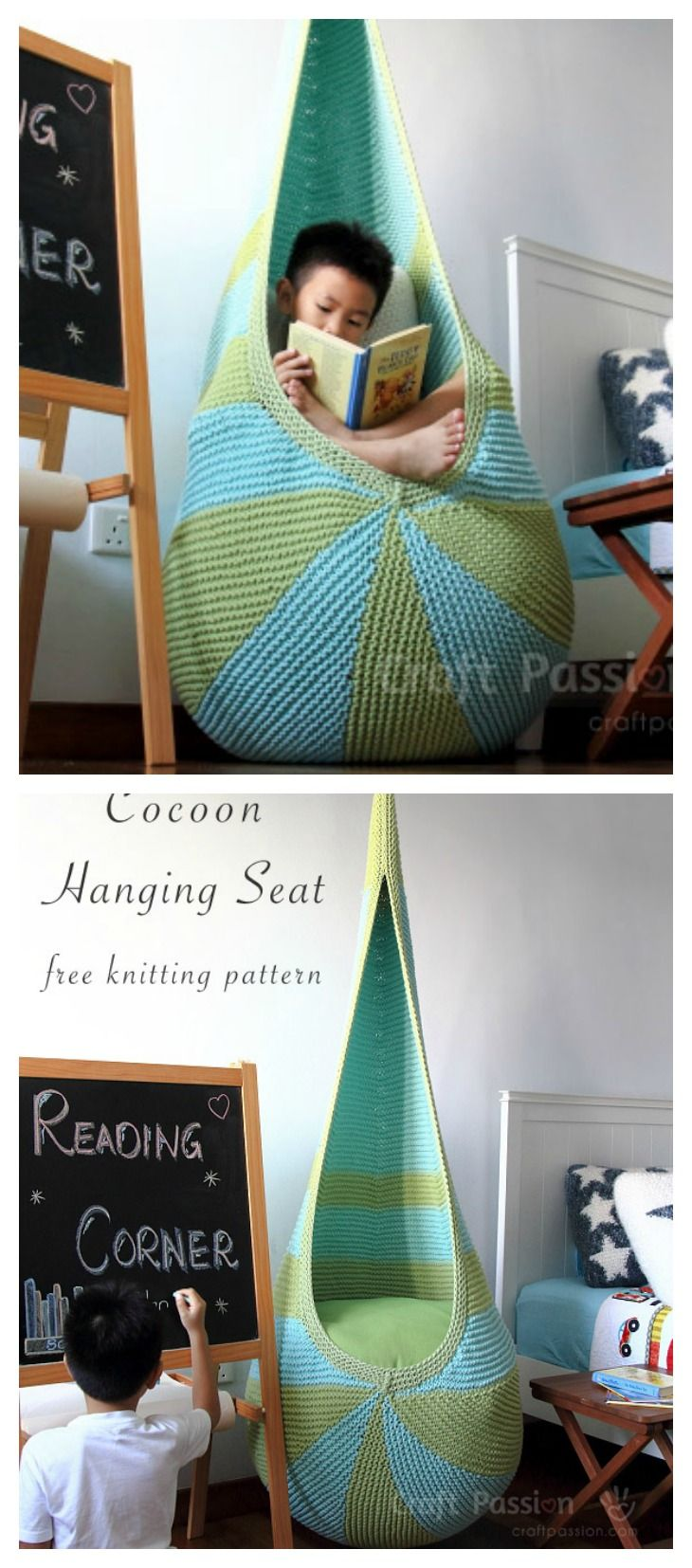 How to #Knitting a Cocoon Hanging Seat with Free #Pattern! This is too cool! You can hang it at kid's room, and put some books aside, I think your kids will love this place.