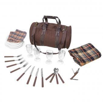 Picknicktasche Picknickdecke Tasche Thermofach inkl. Geschirr für 4 Personen