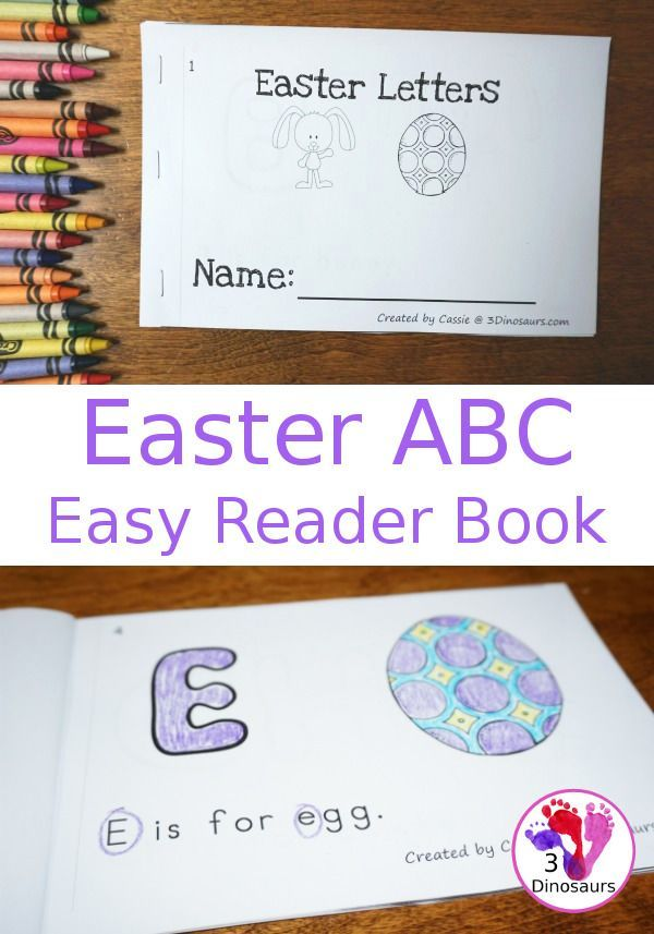 Free Easter ABC Themed Easy Reader Book - with 8 pages with fun beginning sounds - 3Dinosaurs.com