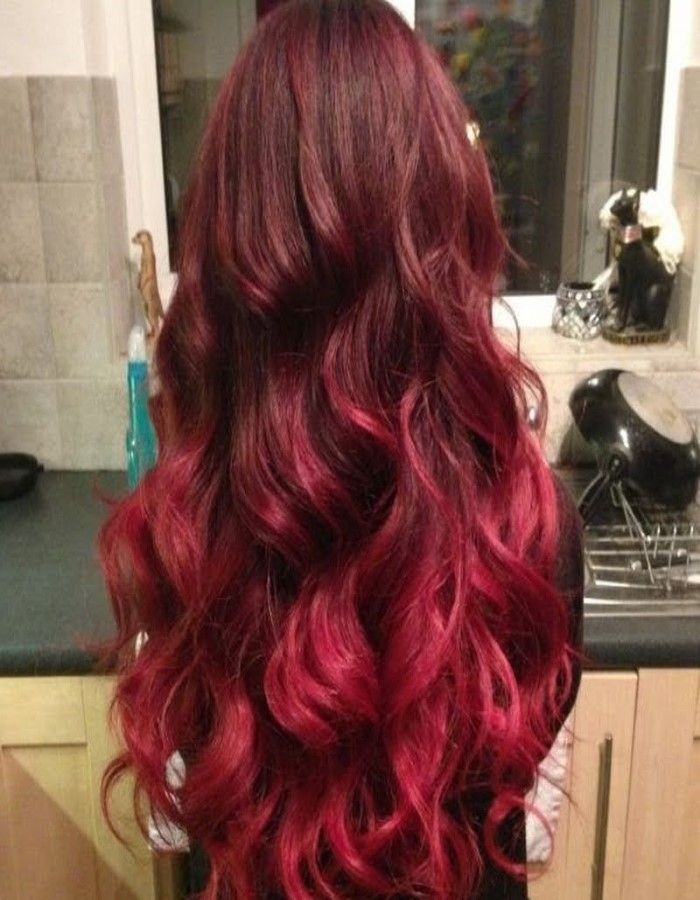 Black to red ombre hair | Maquillaje/Cabello/Uñas | Pinterest