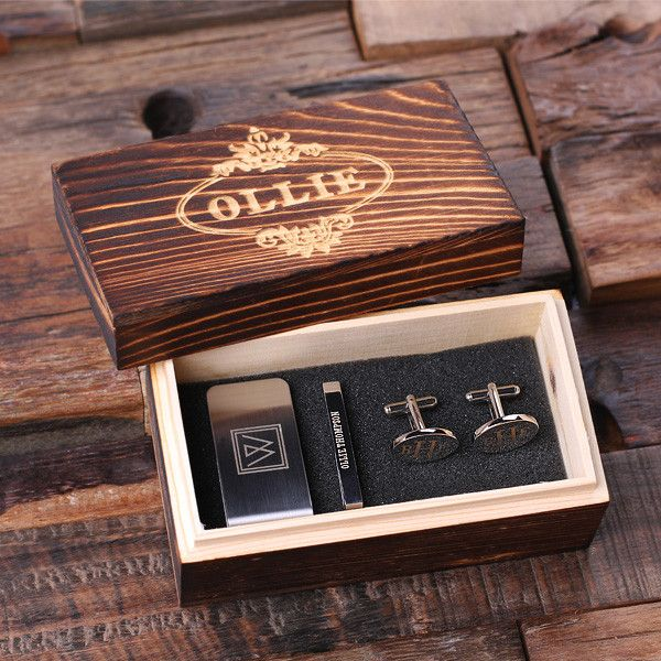 Personalized Gentleman's Gift Set - Cuff Links, Money Clip, Tie Clip, and Wooden Box
