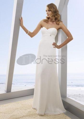 Abiti da Sposa Senza Spalline-Una linea di abiti da sposa senza spalline di chiffon