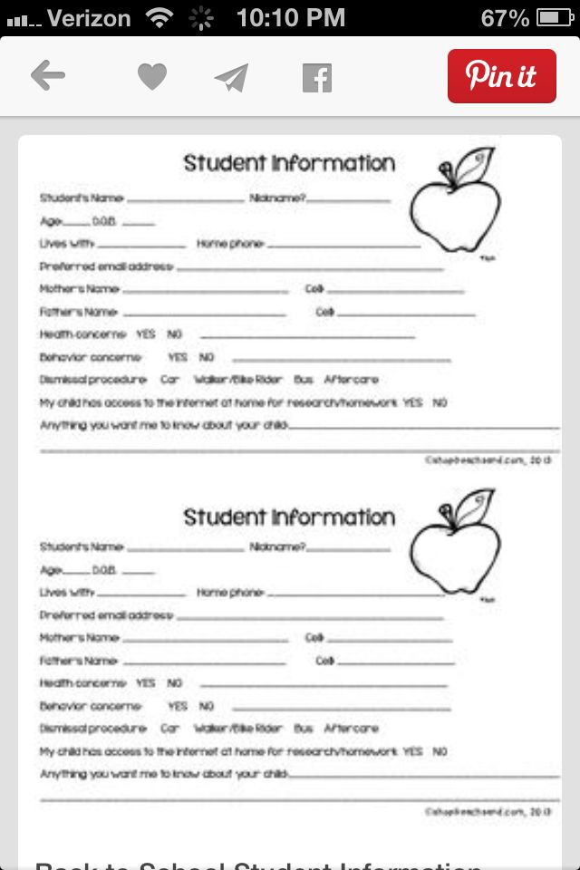 Best 25+ Student information sheets ideas on Pinterest Parent - student sign in sheet