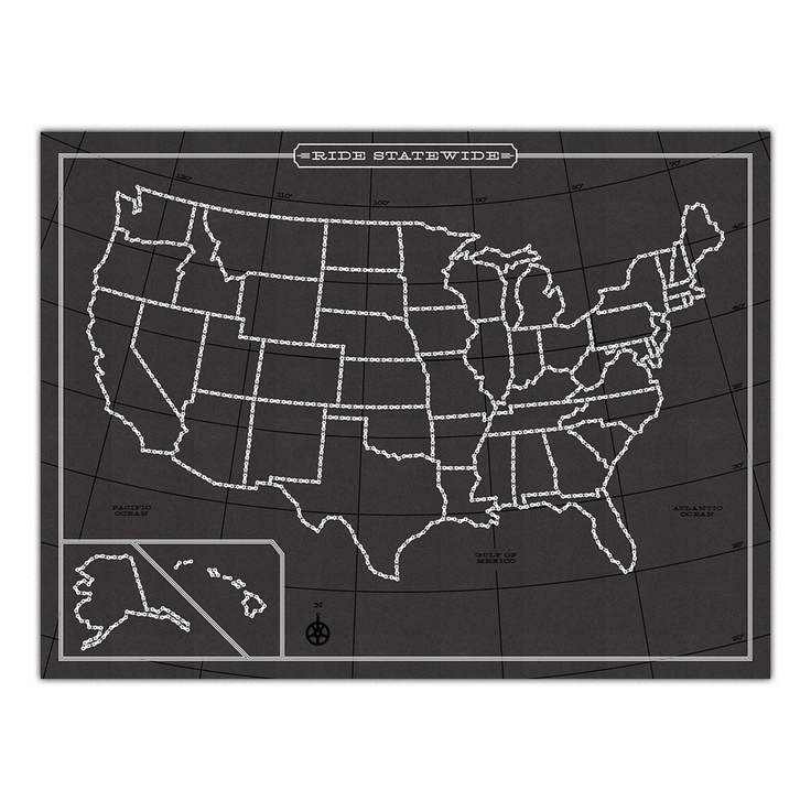 Image of Ride Statewide Map: 50 States, Statewide Map, United States Map, Gift Ideas, Maps, Chalkboard Map, Ride Statewide, Chalkboard United, U.S. States