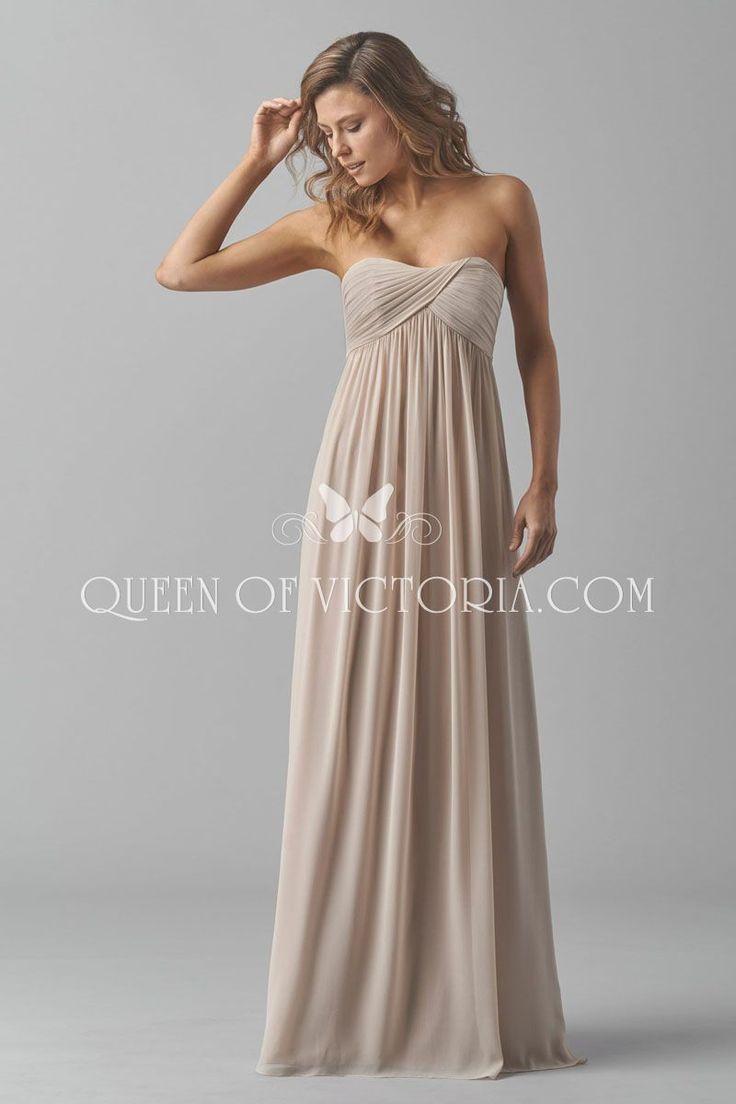 strapless sweetheart long vintage empire waist backless bridesmaid dress