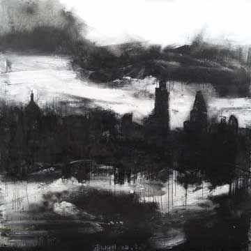 John Virtue - Landscape No. 709. (John Virtue paintings, plastic arts, fine arts,visual arts)