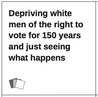 Seems like a good day to bring this one back. For real, though, down with the corporate-controlled two-party system that protects the powerful and suppresses women, people of color, low income people, queer people, trans people, disabled people, and everybody else who didn't win the birth lottery. Even when we win big (2012), women are only 14% of Congress. This system is fucked and we need to fix it. Big love and thanks to all of you out there who are working so hard to do just that.