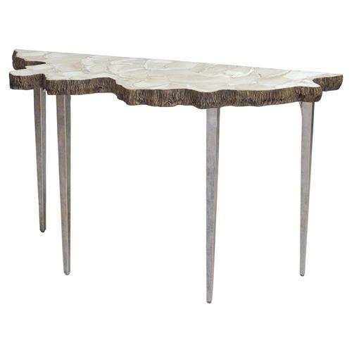Halia Coastal Fossilized Clam Organic Iron Console Table. Eclectic ...