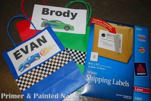 Ship Label Goody Bags - Primer & Painted Nails