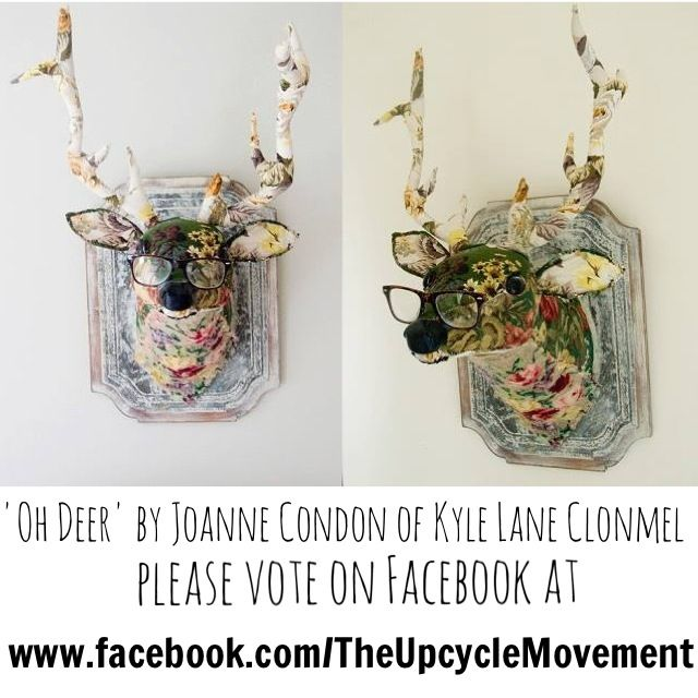 Upcycled Deer head made from Upcycled materials , please vote before Friday 23rd August