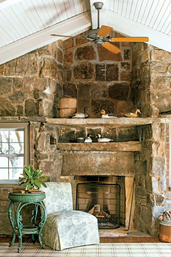 Tennessee Fieldstone Fireplace : Best images about cottage living rooms on pinterest