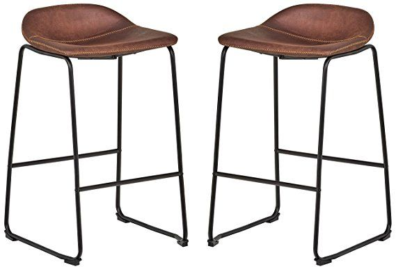Rivet Mid Century 2 Pack No Back Bar Stools 32 3 H Brown Bar