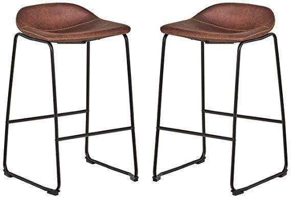 Rivet Mid Century 2 Pack No Back Bar Stools 32 3 H Brown Bar Stools Mid Century Bar Stools Counter Bar Stools
