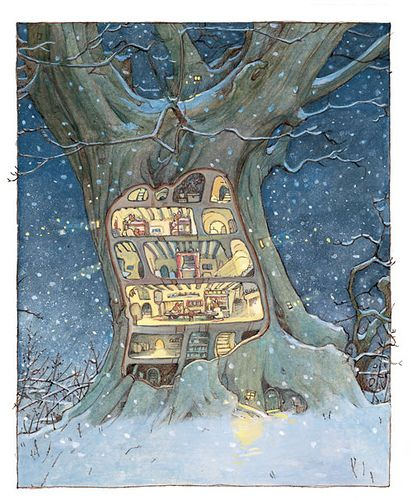 Jill Barklem, childhood favorites.. especially the worked open mice houses in trees and underground
