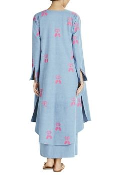 Blue denim jacket with pink beach bed prints