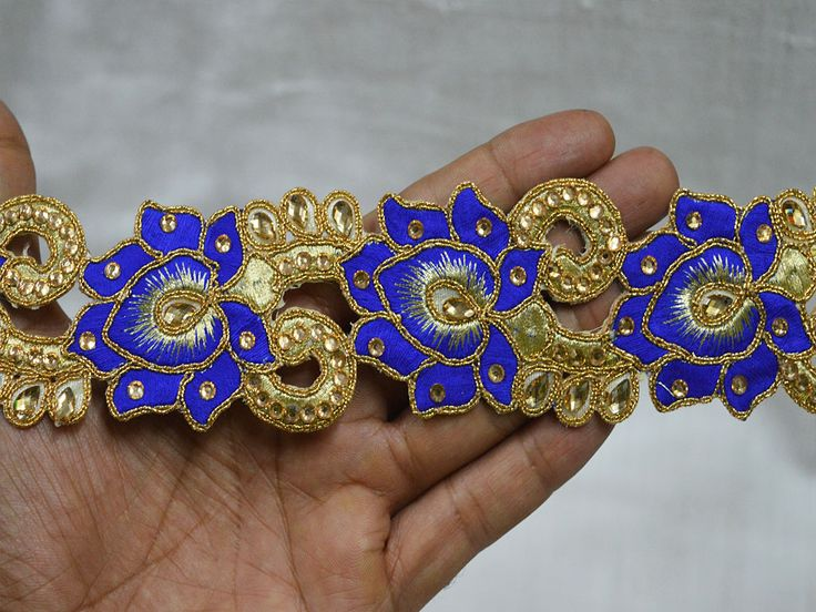 Royal Blue Saree Border Indian  Gold Kundan Lace    You can purchase from below link or What's App no. is +91-9999684477. We also take wholesale inquiries.