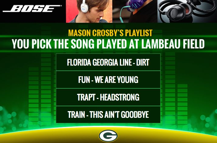 NFL team Green Bay Packers let you pick the music for the game