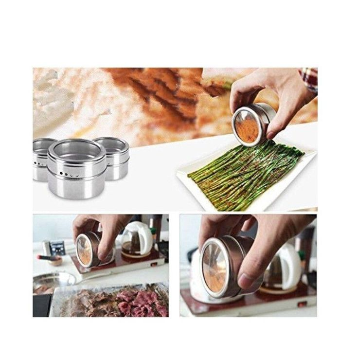 Magnetic Spice Tins Stainless Steel Storage Container Jars Clear Lid Set of 12 | eBay