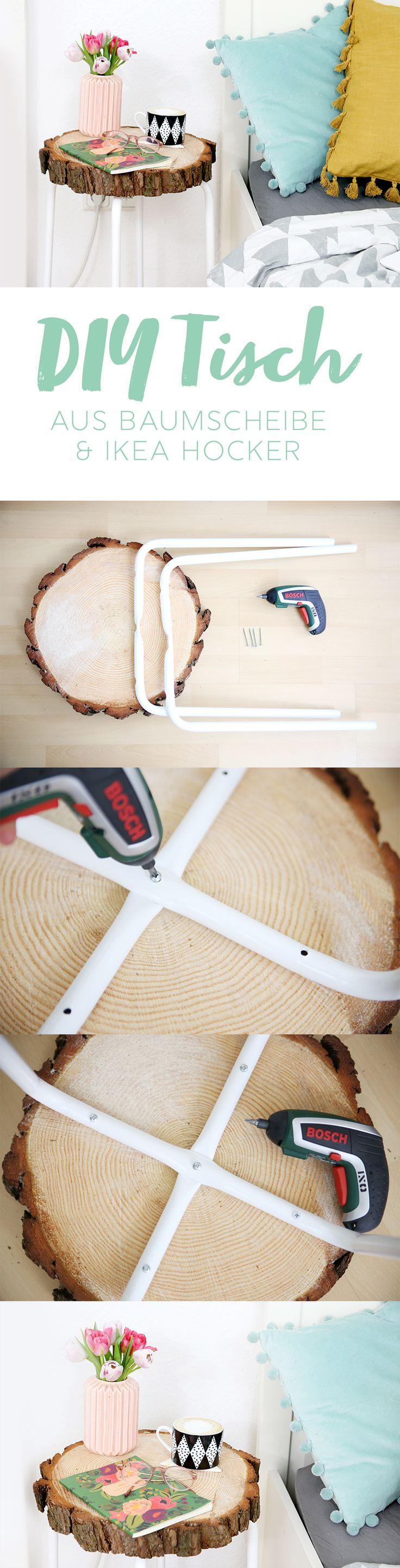 Kreative DIY Idee mit Ikea Hack: Tisch aus Holzscheibe selber machen mit Ikea Hocker Marius | DIY Anleitung | DIY Blog