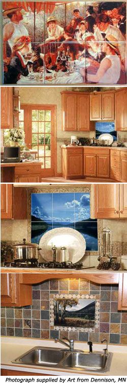 Custom-printed murals, backsplashes, borders, on ceramic, porcelain, glass, or tumbled marble tile -- very extensive info on durability testing and what looks like superior image quality compared to several other sites