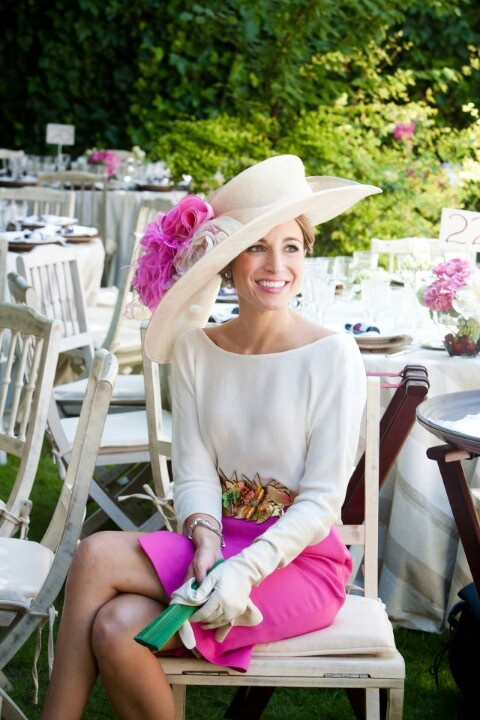 Encourage garden attire with all white and neutral outfits with pops of color and floppy hats