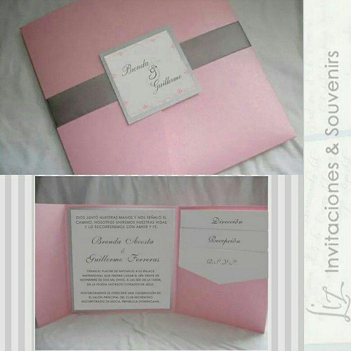 Brenda Guillermo Pocketfold Invitaciones De Bodas Wedding Invitations Baby Pink