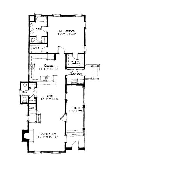 Allison Ramsey Architects Floorplan for The Lyford - 1834 square - plan 3 k che