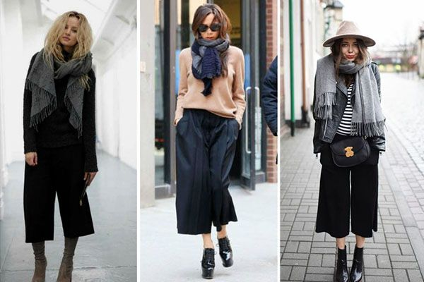Cómo combinar un culotte en invierno: bufandas