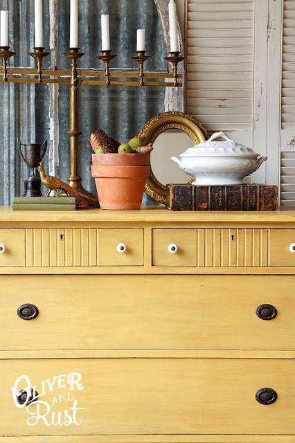 General Finishes milk paint (Somerset Gold) & General Finishes glaze (Van Dyke Brown).