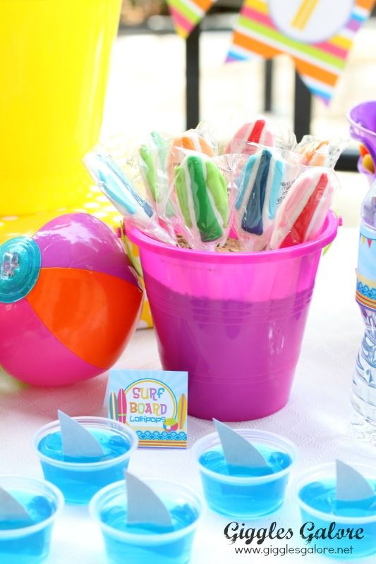 Surfin' Into Summer Pool Party - Shark Attach Jell-o and Surfboard Lollipops
