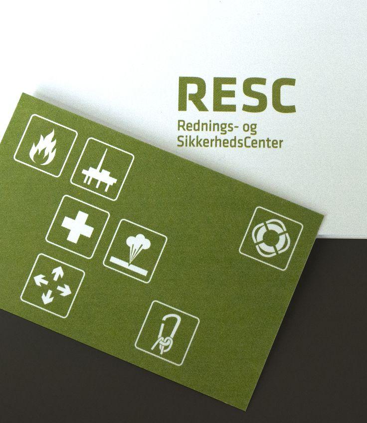 Visitkort / brevlinje med piktogrammer og den gennemgående grønne farve.