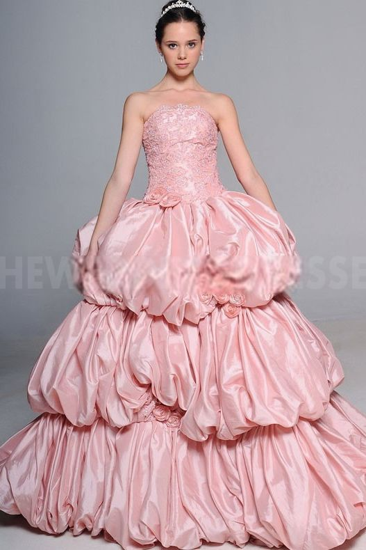 Strapless Luxury Pink Bridal Dresses - Order Link: http://www.theweddingdresses.com/strapless-luxury-pink-bridal-dresses-twdn3805.html - Embellishments: Beading; Length: Floor Length; Fabric: Satin; Waist: Natural - Price: 200.0223USD