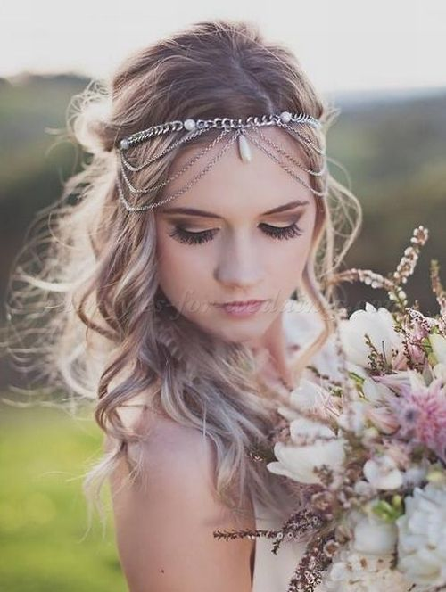 bridal headbands, wedding forehead band - boho wedding hairstyle with forehead band