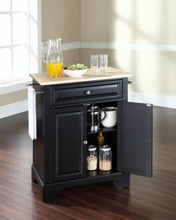 Crosley Furniture LaFayette Natural Wood Top Portable Kitchen Cart or Island in Black, Classic Cherry, Mahogany or White finish | KitchenSource.com