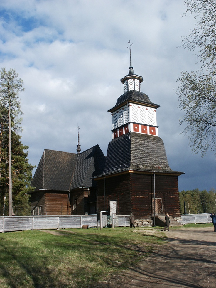 Petäjäveden vanha kirkko, The old church at Petäjävesi, Finland was built in 1763-1764. It was marked as a UNESCO world heritage landmark in 1994 as an excellent example of a Lutheran country church built of logs as a typical example of an architectural tradition unique to eastern Scandinavia.