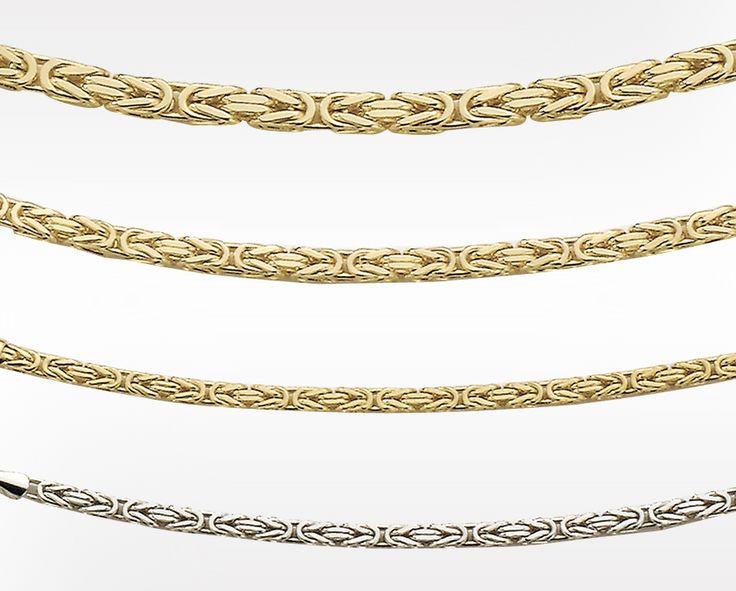 Massiv klassisk kjede i gult gull Kongemønster. Finnes i 3 bredder: 2,5 mm, 3,3 mm og 4,2 mm. Samt i hvitt gull2,5 mm.