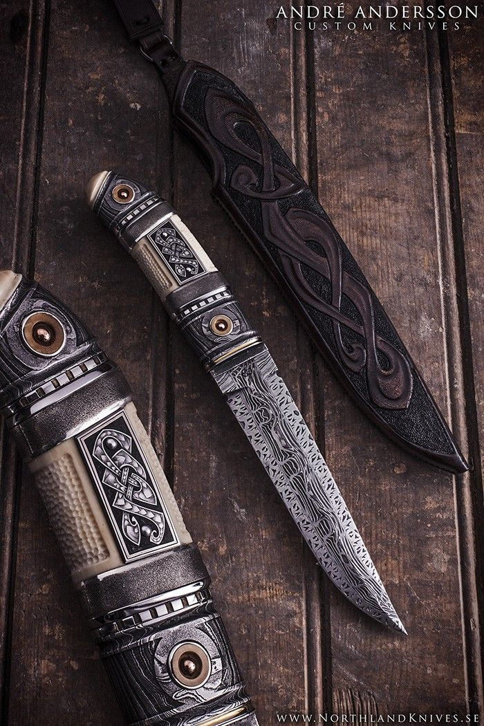 André Andersson Custom Damascus Knives - Knives, Daggers, Swords and Artknives from Sweden | Knives of Interest | Pinterest | Custom knives, Blade and Damascus…