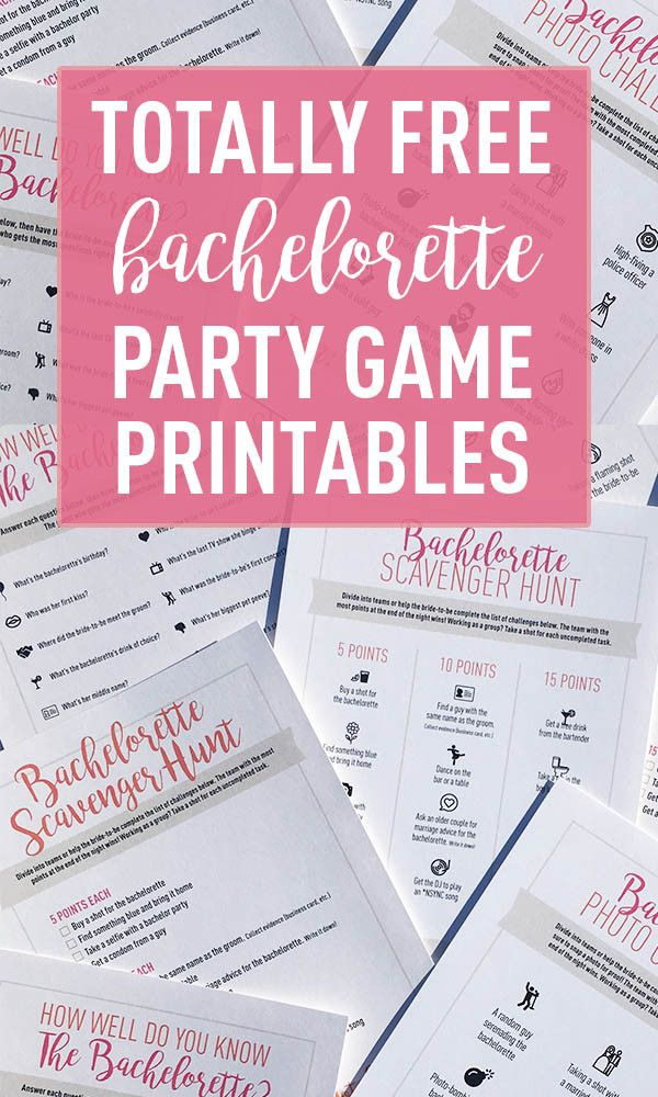 Free Download | Free Printable | Bachelorette Party Games    Print your very own Bachelorette Scavenger Hunt, Photo Challenge or How Well Do You Know the Bachelorette? party games!    www.shopstagandhen.com