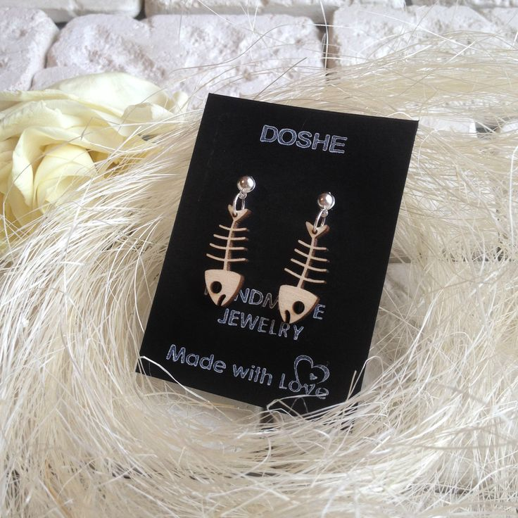 Funny Fish bone laser cut earrings, Fish bone jewelry, Fish bone earrings, Fish bones, Laser cut earrings, Handmade jewelry, Fish bone charm by DosheEcoDecorCharms on Etsy