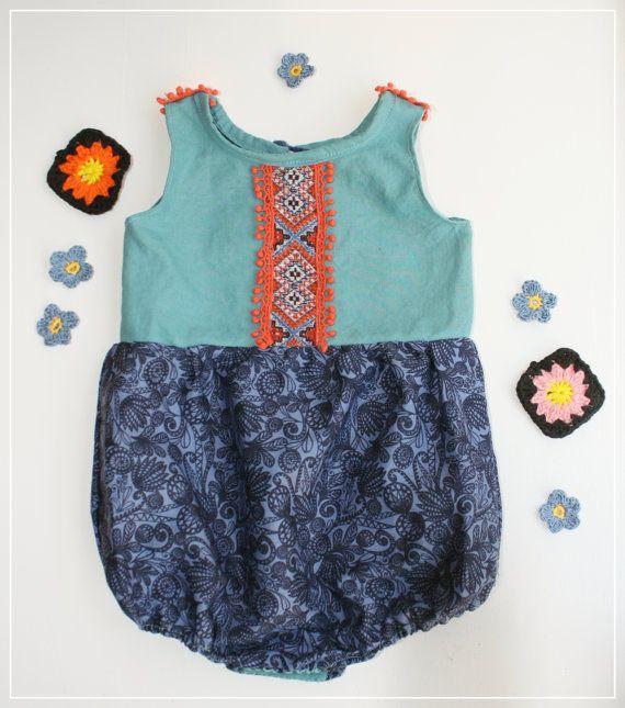 Blue boho baby summer romper with vibrant by JuniperAndGypsy