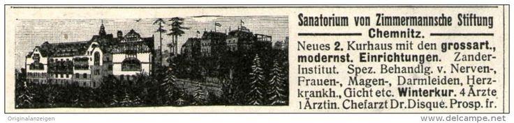 Original-Werbung/ Anzeige 1905 - SANATORIUM VON ZIMMERMANN´SCHE STIFTUNG CHEMNITZ - ca 90 x 20 mm