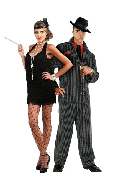 lindy lace flapper and gangster man couples costumes party city - Female Gangster Halloween Costumes