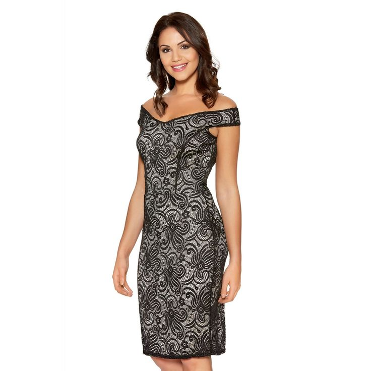 Look beautiful in this stunning dress. Featuring an all over black glitter lace material over a stone under-layer. Its has an off the shoulder style which give it a touch of glamour. Wear with heels, matching clutch and additional jewellery.