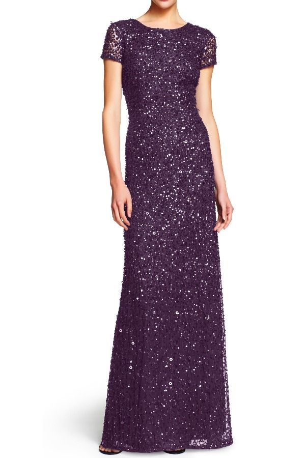 f3acc99a0c1 Adrianna Papell Scoop Back Sequin Beaded Gown Amethyst Gunmetal | Wedding |  Sequin gown, Sequin bridesmaid dresses, Bridesmaid dresses