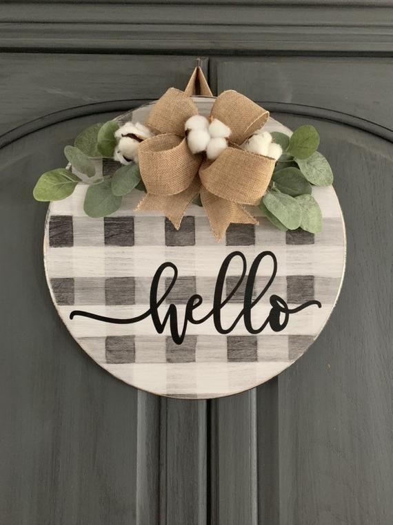 Hello Door Hanger Buffalo Plaid Door Hanger Round Door Sign Etsy Wooden Door Signs Wood Door Hangers Door Decorations