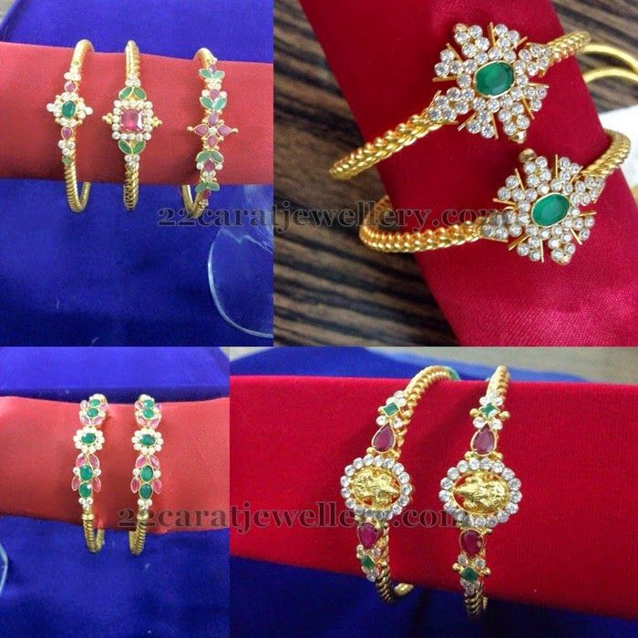 Jewellery Designs: Light Weight Gemstone Kada Designs