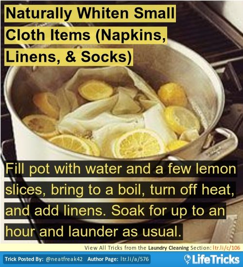 Laundry Cleaning - Naturally Whiten Small Cloth Items (Napkins, Linens, & Socks)