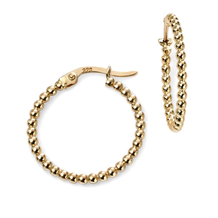 Hallmarked 9ct Yellow Gold Ball Hoop Earrings - From the new Elements Gold 2016 collection, these beautifully designed earrings delivers a timeless elegance and charm. Expertly crafted using hallmarked 9ct yellow gold, this piece is supplied with a branded Elements Gold gift box: http://ow.ly/Xy4x6