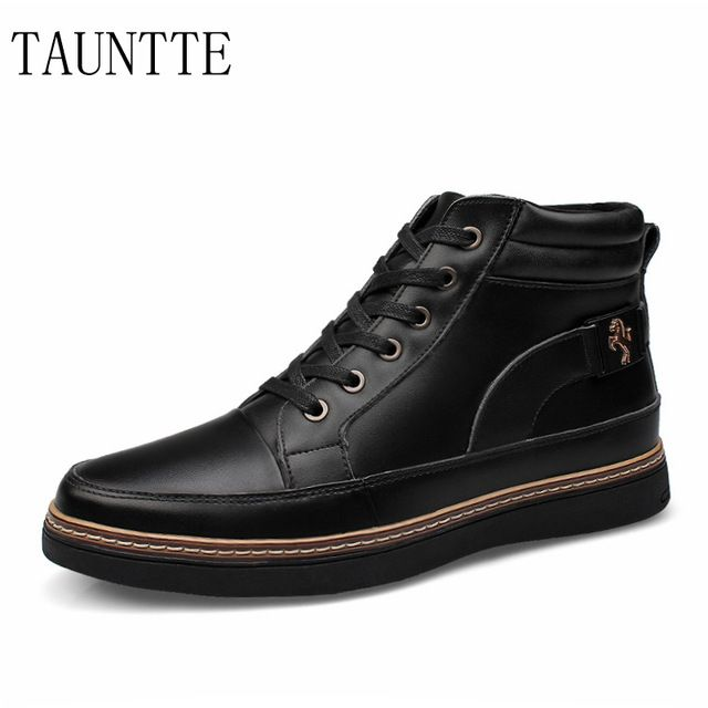 Promotion price Tauntte Autumn and winter keep warm men boots fashion lace up genuine leather ankle boots with fur just only $47.04 with free shipping worldwide  #menshoes Plese click on picture to see our special price for you